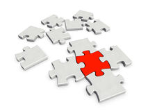 Ein Stück entscheidend für den Abschluss eines Puzzlespiels Lizenzfreies Stockbild