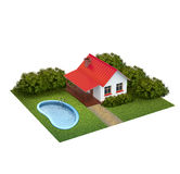 Ein Stück Land mit Rasen mit Haus, Büschen und Swimmingpool Lizenzfreie Stockfotos
