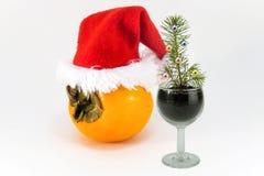 Ein Stückchen ein Tannenbaum in einem Schnapsglas und eine Persimone zu einer Kappe stockfoto