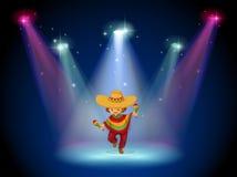 Ein Stadium mit einem Tanzen des jungen Mädchens in der Mitte Stockbilder