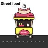Ein Stall mit Hotdogen Das Straßenlebensmittel Lizenzfreie Stockfotografie