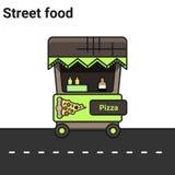 Ein Stall mit Pizza Das Straßenlebensmittel Lizenzfreie Stockfotografie