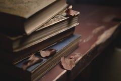 Ein Stapel alte Weinlesebücher auf einem roten Holztisch und trockenen Blättern lizenzfreie stockfotos