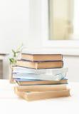 Ein Stapel Bücher auf einer weißen Tabelle Lizenzfreie Stockfotos