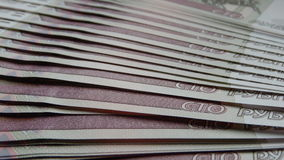 Ein Stapel Banknoten Rubel Stockfotos