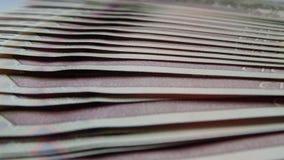 Ein Stapel Banknoten Rubel Stockfoto
