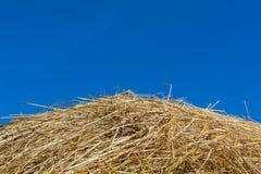 Ein Stapel der trockenen Strohbeschaffenheit und des blauen Himmels, nützlich für Hintergründe Stockfotografie