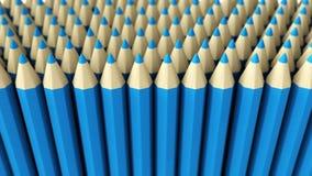 Ein Stapel des blauen Zeichenstifts 3d auf einem weißen Hintergrund Stockbilder