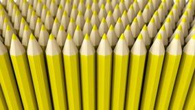 Ein Stapel des gelben Zeichenstifts 3d auf einem weißen Hintergrund Lizenzfreie Stockbilder
