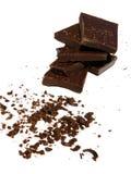 Ein Stapel des Körpers und der zerriebenen Schokolade lizenzfreie stockbilder