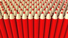 Ein Stapel des roten Zeichenstifts 3d auf einem weißen Hintergrund Stockfoto