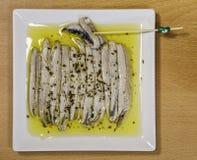Ein Stapel von Sardellen im Essig Lizenzfreie Stockfotografie