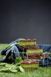 Ein Stapel von selbst gemachten Schokoriegeln mit einer Füllung des grünen Tees Lizenzfreies Stockbild