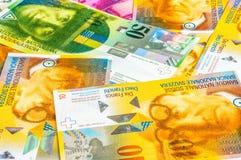 Ein Stapel von Währungsbanknoten des Schweizer Franken Stockfoto