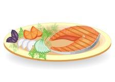 Ein Steak von den roten Fischen gegrillt auf einer Platte Schm?cken Sie die Gurke Tomate, Zwiebel, Petersilie, Dill und Basilikum lizenzfreie abbildung