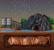 Ein Steinbergwerk am regnerischen Tag Lizenzfreies Stockfoto