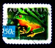 Ein Stempel, der in Australien gedruckt wird, zeigt ein Bild des Orange thighed Baumfrosches auf Wert bei Cent 50 Stockbilder