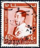 Ein Stempel, der im Libanon gedruckt wird, zeigt ein Porträtbild von Staatsdruckerei Wiev Lizenzfreie Stockfotos