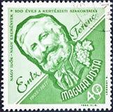 Ein Stempel, der in Ungarn gedruckt wird, zeigt ein Porträtbild von Latinka Sandor Stockfotografie