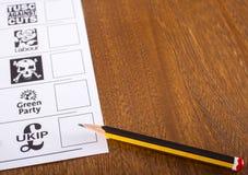 Ein Stimmzettel für die britische Parlamentswahl Stockfoto
