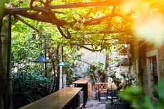 Ein Straßencafé mit einer Terrasse und einem Zweigweinstock Hölzerne Stange lizenzfreie stockfotos