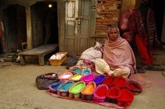 Ein Straßenhändler in Katmandu Stockfotografie