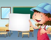 Ein Student, der ein leeres Blatt Papier hält Lizenzfreie Stockfotos