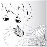 Ein Symbol des Sommers, das Kind mit einem Schmetterling auf einer Hand stock abbildung