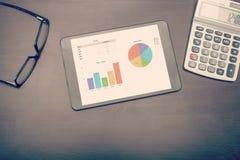 Ein Tablettengerät, das Statistiken zeigt stockfoto