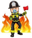 Ein tapferer Feuerwehrmann stock abbildung
