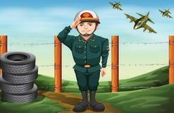 Ein tapferer Soldat, der einen Handgruß tut stock abbildung