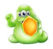 Ein tapferes greenslime Monster, das ein Schild hält Lizenzfreie Stockfotos