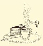Ein Tasse Kaffee-, Kuchen- und Milchkrug Lizenzfreie Stockfotografie