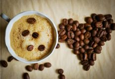 Ein Tasse Kaffee mit Liebe Lizenzfreie Stockfotografie