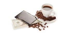 Ein Tasse Kaffee und 20 Dollar Lizenzfreies Stockfoto