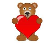 Ein Teddybär, der ein Liebes-Inneres anhält Stockbild