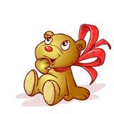 Ein Teddybär mit Bogen stockbild