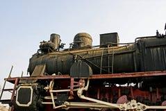 Ein Teil einer Retro- Dampflokomotive der schwarzen Farbe Lizenzfreie Stockfotografie