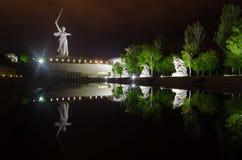 Ein Teil von Monument Mamaev Kurgan und des Mutterlandes in Stalingrad am 23. Februar, am 9. Mai Stockfotos