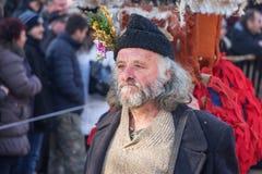 Ein Teilnehmer an Festival von Maskeradespiele ` Surva-` lizenzfreie stockbilder