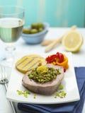 Ein Teller der Thunfischleiste mit Gemüse Lizenzfreie Stockfotos