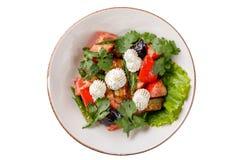 Ein Teller des Gemüses mit gebackenen Auberginen auf einem weißen Hintergrund lizenzfreie stockbilder