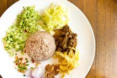 Reis gemischt mit Garnele-Paste Lizenzfreie Stockfotografie