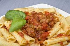 Ein Teller von Maccheroni Stockfoto