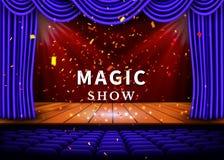 Ein Theaterstadium mit einem blauen Vorhang und ein Scheinwerfer und ein Bretterboden Magisches Show-Plakat Vektor stock abbildung