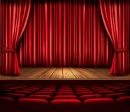 Ein Theaterstadium mit einem roten Vorhang, Sitzen und einem Scheinwerfer Vecto Stockbild