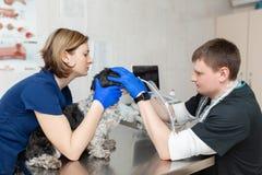 Ein Tierarzt tut einen Ultraschall des Auges des Hundes im B?ro Behilfliche Hilfen den Hund halten, wenn der Doktor ein Tierarzt  stockbilder