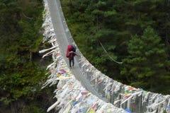 Ein Träger über einer Hängebrücke in Jorsale, Wanderung niedrigen Lagers Everest, Nepal lizenzfreie stockbilder