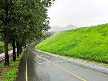 Ein Tränken naß, Baum gezeichnet, thailändische Landschaft, gebogene Straße, während eines tropischen Regengusses lizenzfreie stockfotos