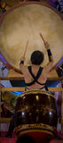 Ein traditioneller japanischer Schlagzeugermann Stockbild